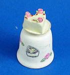 Click here to enlarge image and see more about item n02686: Hand Painted Ceramic Thimble - Cake