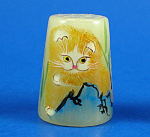 Click here to enlarge image and see more about item n02702: Hand Painted Carved Stone Thimble - Cat