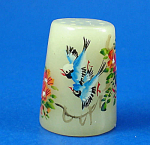 Click here to enlarge image and see more about item n02705: Klima Hand Painted Carved Stone Thimble - Birds
