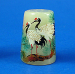 Click here to enlarge image and see more about item n02706: Klima Hand Painted Carved Stone Thimble - Crane