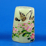 Klima Hand Painted Carved Stone Thimble - Flying Duck