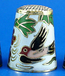 Klima Enameled Metal Thimble - Birds