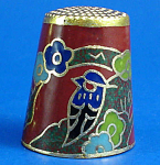 Enameled Metal Thimble - Birds