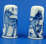 Click here to enlarge image and see more about item n02728: Hand Painted Porcelain Thimble Pair - Horse Carriage