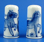 Click here to enlarge image and see more about item n02729: Hand Painted Porcelain Thimble Pair - Horse Carriage