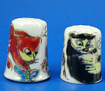 Click here to enlarge image and see more about item n02746: Hand Painted Porcelain Thimble Pair - Cats