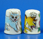Click here to enlarge image and see more about item n02748: Hand Painted Porcelain Thimble Pair - Cats