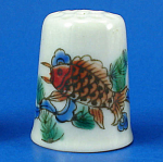 Hand Painted Porcelain Thimble - Fish