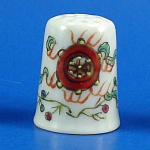 Click here to enlarge image and see more about item n02777: Hand Painted Porcelain Thimble - Oriental Symbols