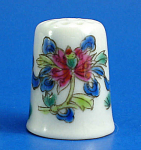 Hand Painted Porcelain Thimble - Floral