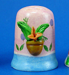 Hand Painted Ceramic Thimble - Cactus Houseplant Scene