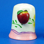 Hand Painted Ceramic Thimble - Apple on Side