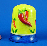 Hand Painted Ceramic Thimble - Pepper on Side