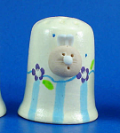 Hand Painted Ceramic Thimble - Bunny Head on Side
