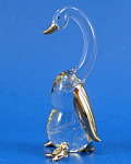 Blown Glass with Gold Trim Miniature Goose