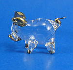 Blown Glass with Gold Trim Miniature Piglet