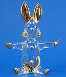 Blown Glass with Gold Trim Miniature Rabbit