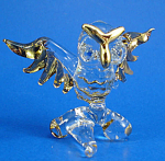 Blown Glass with Gold Trim Miniature Owl on Branch