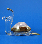 Blown Glass with Gold Trim Miniature Snail