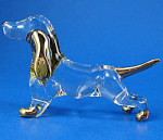Click here to enlarge image and see more about item n02884: Blown Glass with Gold Trim Miniature Dachshund