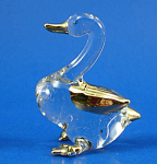 Blown Glass with Gold Trim Miniature Duck