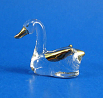Blown Glass with Gold Trim Miniature Duckling