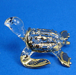 Blown Glass with Gold Trim Miniature Sea Turtle