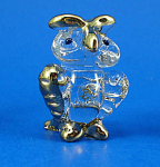 Click here to enlarge image and see more about item n02902: Blown Glass with Gold Trim Miniature Owl