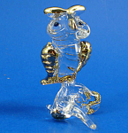 Klima Blown Glass with Gold Trim Miniature Owl
