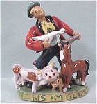 Click here to enlarge image and see more about item p00187: 1960s Austrian Redware Man w/ Farm Animals