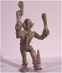 Click here to enlarge image and see more about item p00307: Miniature Metal Clown Juggler