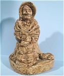 Click here to enlarge image and see more about item p00312: 1971 Wilson Craft Old Lady Churning Butter Figurine