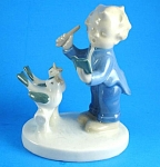 Click here to enlarge image and see more about item p00402m: 1950s/1960s German Porcelain Boy With Birds