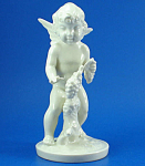 Click here to enlarge image and see more about item p00439: Vintage German Porcelain Cherub with Grapes