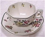 Click here to enlarge image and see more about item pt00405: Royal Doulton Old Leeds Sprays Cup and Saucer
