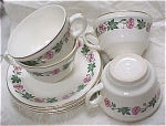 Four ''USA'' Pottery Cup & Saucer Sets