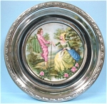 Click here to enlarge image and see more about item pt00543: Royal Copley Chrome and Pottery Coaster