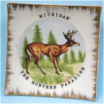 Michigan Souvenir Miniature Deer Plate
