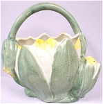 Click here to enlarge image and see more about item pt00628: 1920s Bisque Tulip Basket