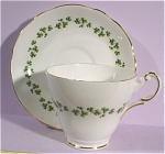 Click here to enlarge image and see more about item pt00698: Regency Bone China Clover Pattern Cup and Saucer