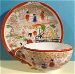 Click here to enlarge image and see more about item pt00760: Japan Porcelain Cup and Saucer