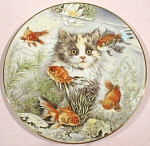 Click here to enlarge image and see more about item pt00796: Royal Worcester Kitten Plate, Fishful Thinking