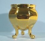 Click here to enlarge image and see more about item pt00800: Miniature Golden Porcelain Vase on Legs