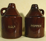 Click here to enlarge image and see more about item pt00804: Redware Pottery Jug Salt and Pepper Shakers