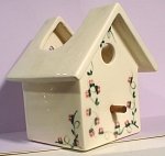 Click to view larger image of Unmarked Pottery Birdhouse Wallpocket (Image1)