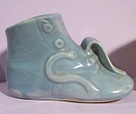 Click here to enlarge image and see more about item pt00945: Blue Pottery Baby Shoe Planter