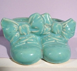 Blue Pottery Double Baby Shoe Planter