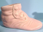 Click here to enlarge image and see more about item pt00954: Pink Pottery Baby Shoe Planter
