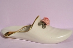 Click here to enlarge image and see more about item pt00957: Dresden Porcelain Slipper Shoe Ashtray