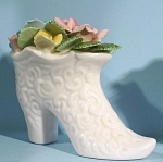 Click here to enlarge image and see more about item pt00965: White Porcelain Boot with Flowers